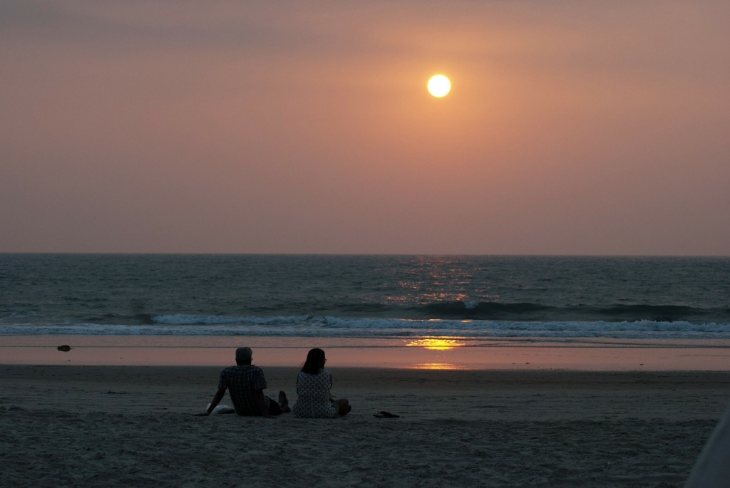 sunset at goa beach