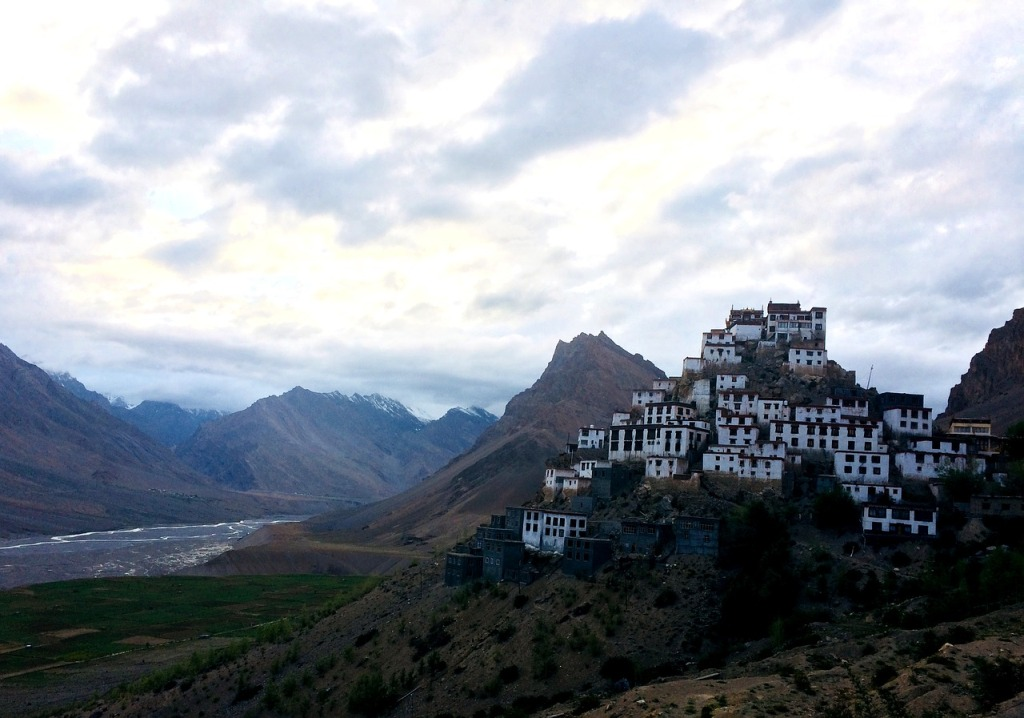 Key monastery on top of hill with spiti river flowing on the foot of mountain