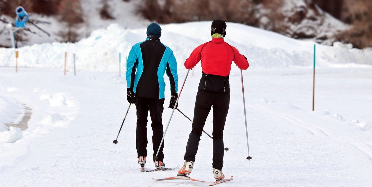 people wearing red and blue jacket skiing in snow