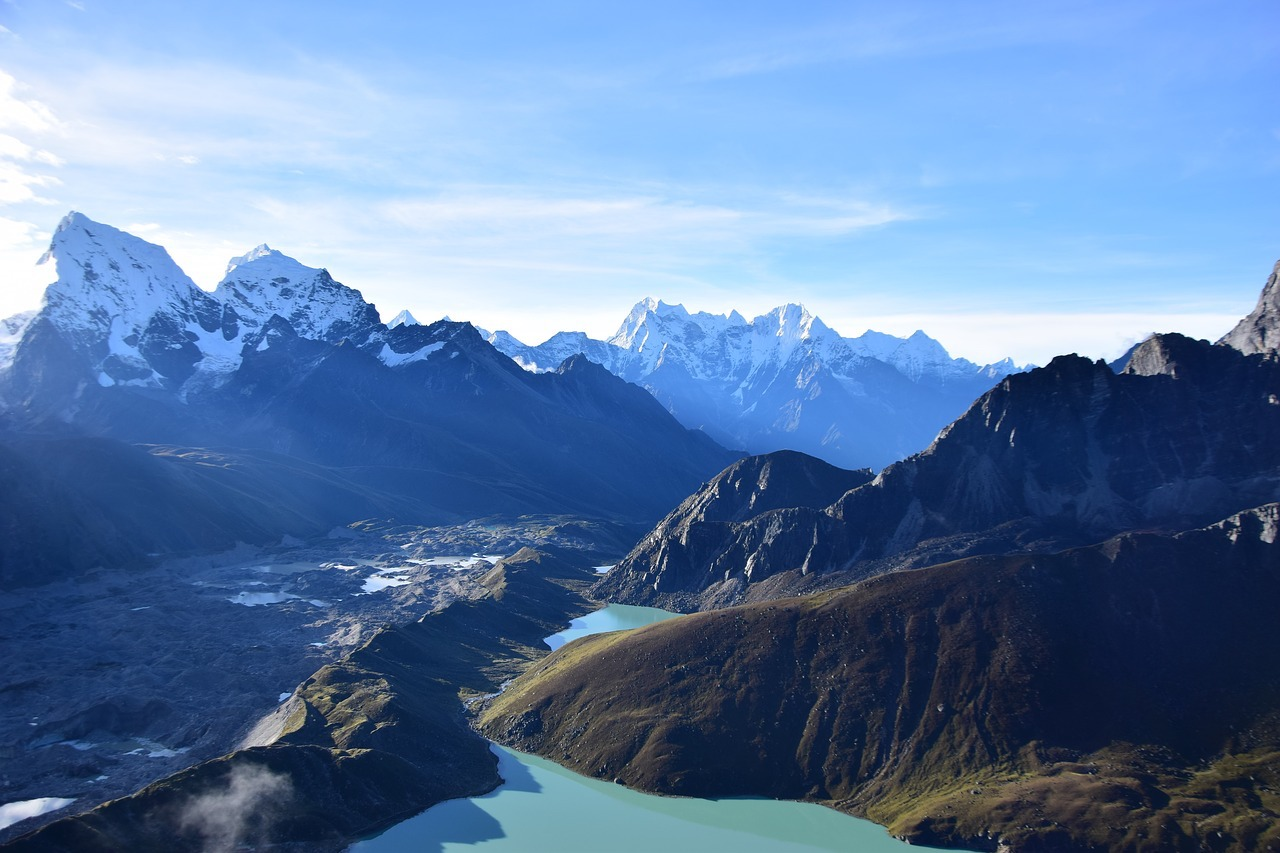 gokyo lake surrounded by the mountain peaks