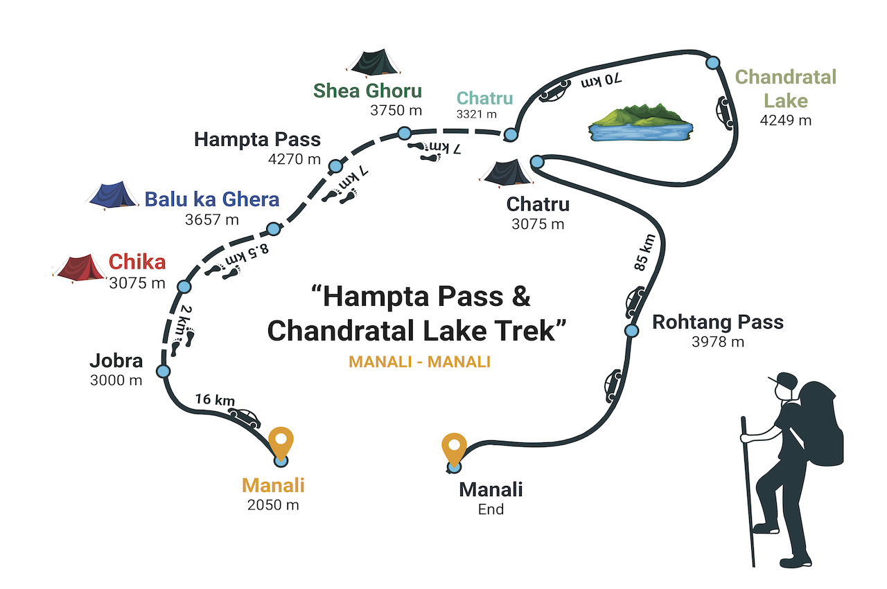 Map of starting and end point in hampta pass trek