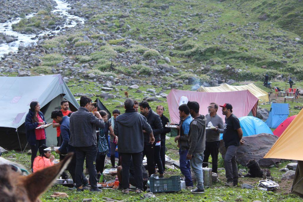 chika campsite in hampta pass trek