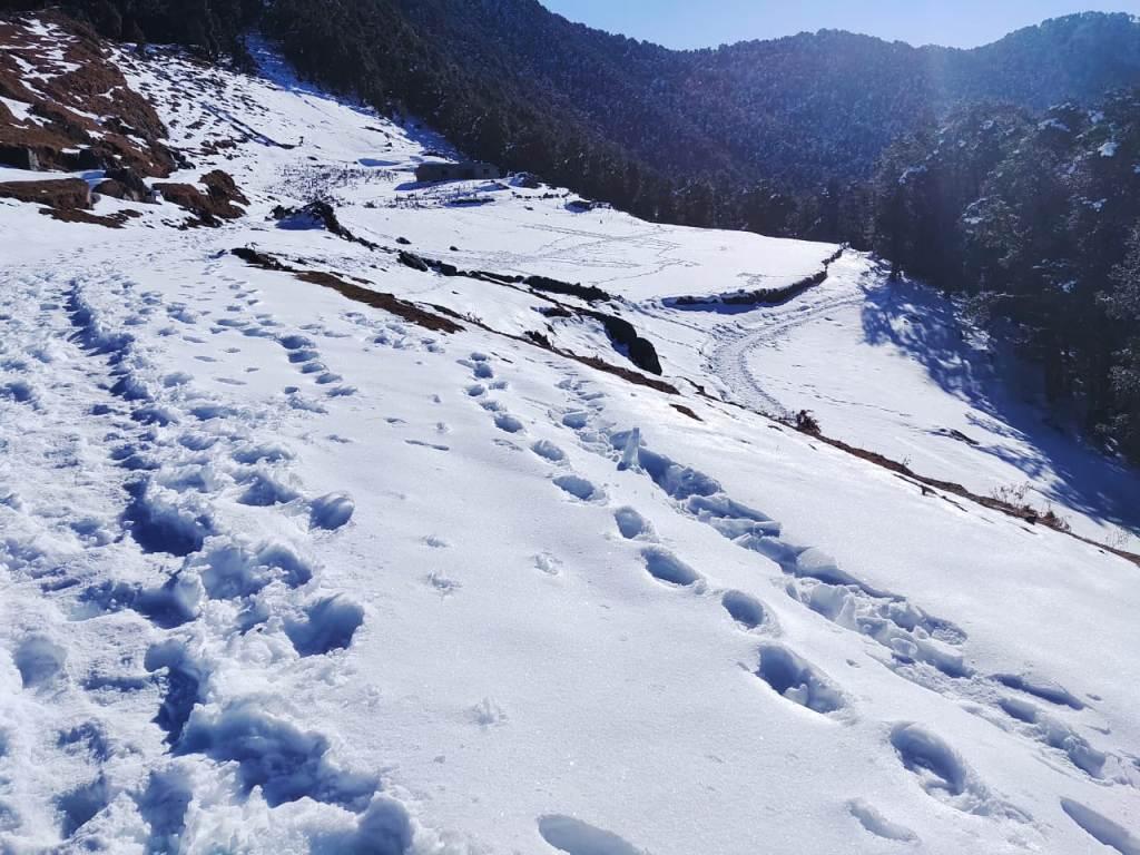 snow covered trail at nag tibba