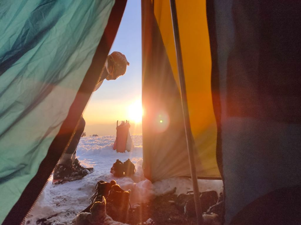 sunrise view from inside the tent