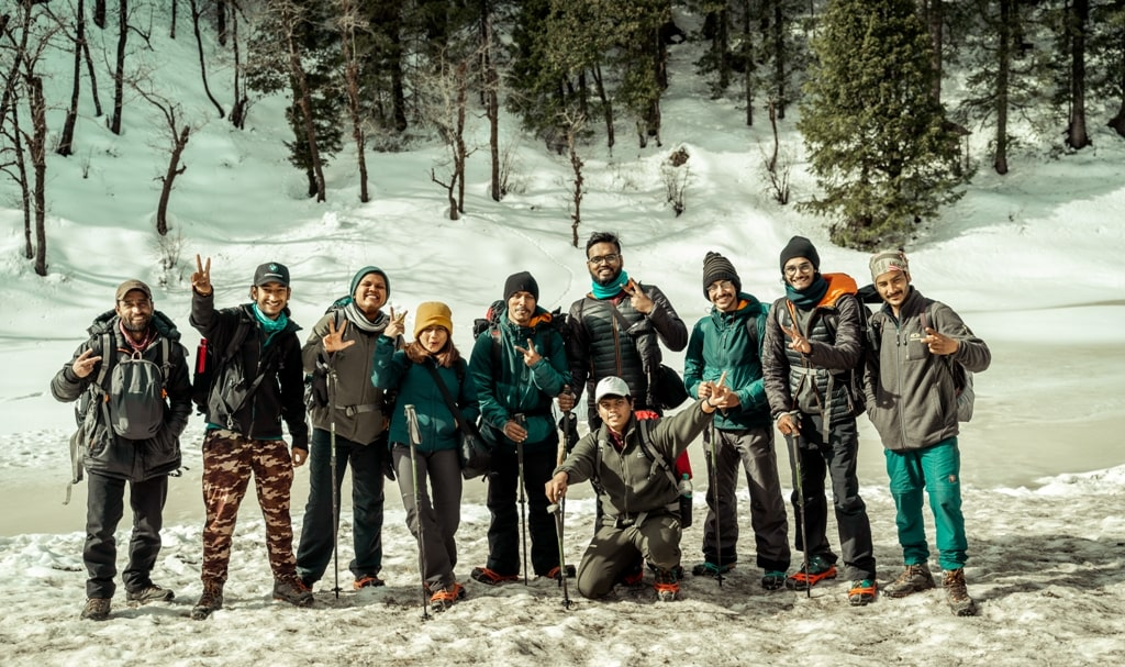 group of fellow trekkers at juda ka talab