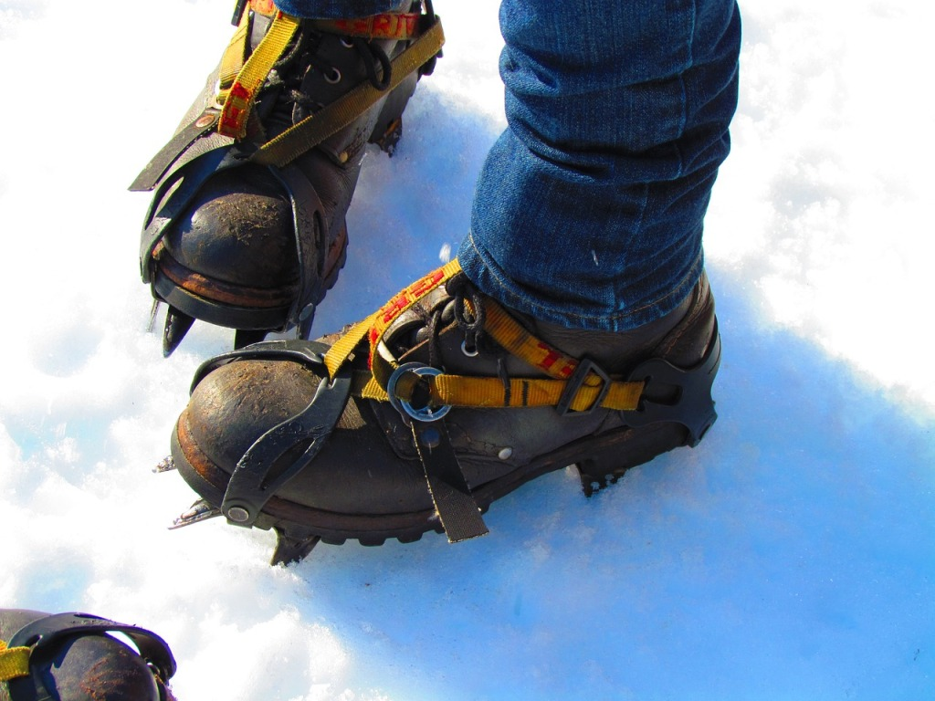 trekking shoes with crampons