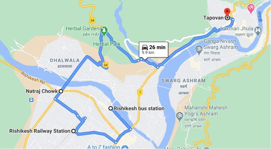 pick up points from rishikesh