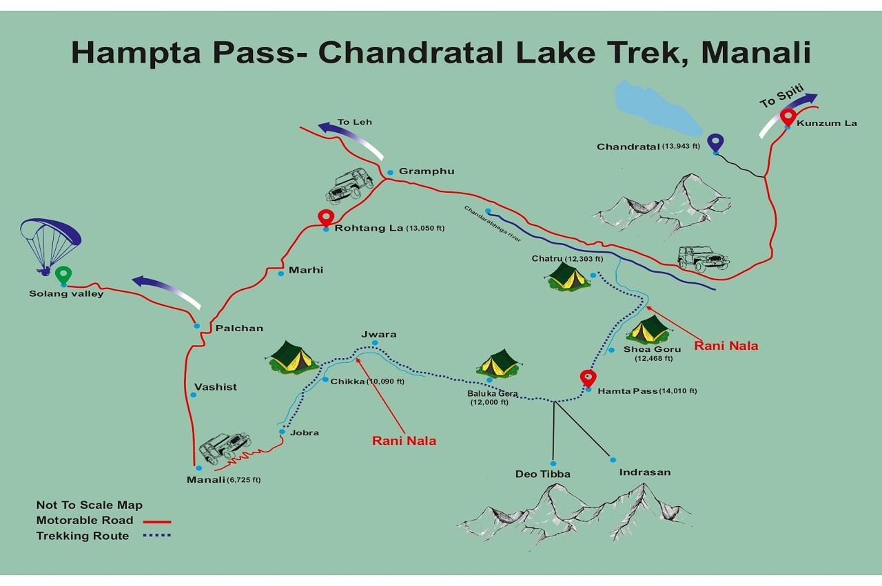 Hampta pass trek detailed map