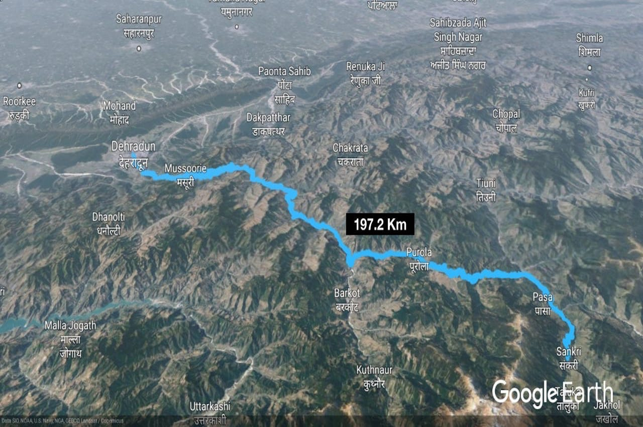 Dehradun to sankri distance showing in google map