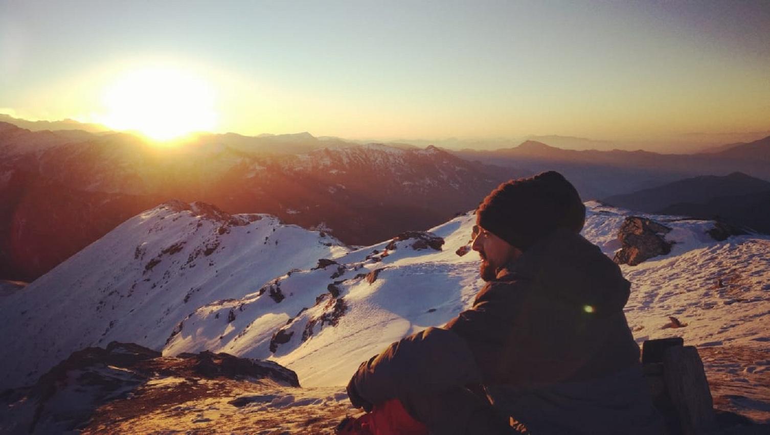 Sunrise at kedarkantha peak