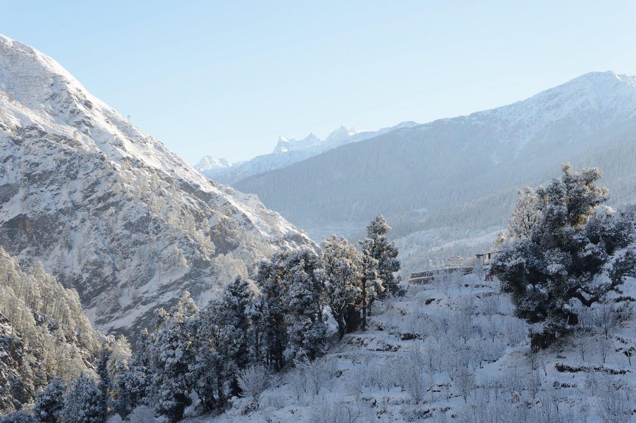 Sankri village covered in snow